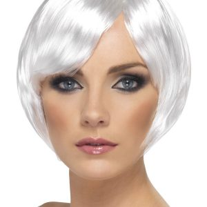 White bob wig with fringe