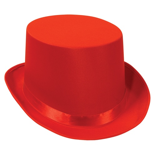 Red top hat satin