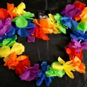 Multi-coloured flower lei with larger flowers