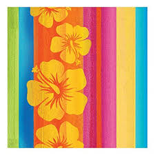 Sunset stripe Hawaiian themed napkins