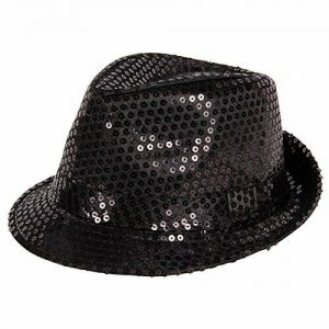 Black sequin fedora