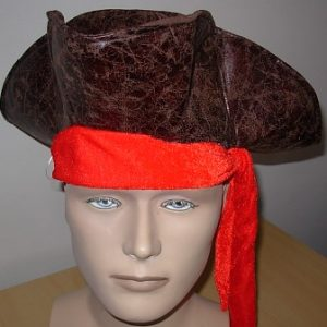 Pirate hat brown with red band