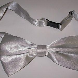Grey satin bow tie