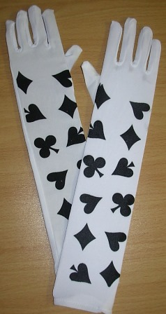 White gloves with card suit print