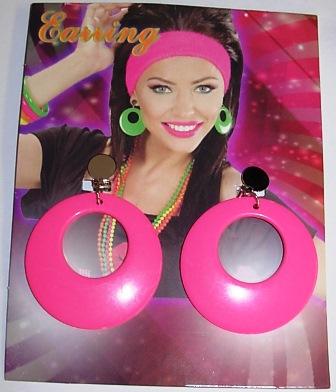 80's neon pink earrings