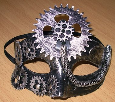 Steampunk eye mask with cogwheel design