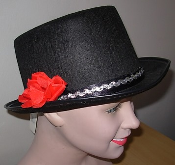 Black top hat with red rose