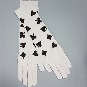 Long white gloves with card print