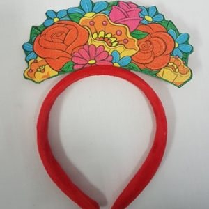 Red headband with floral design