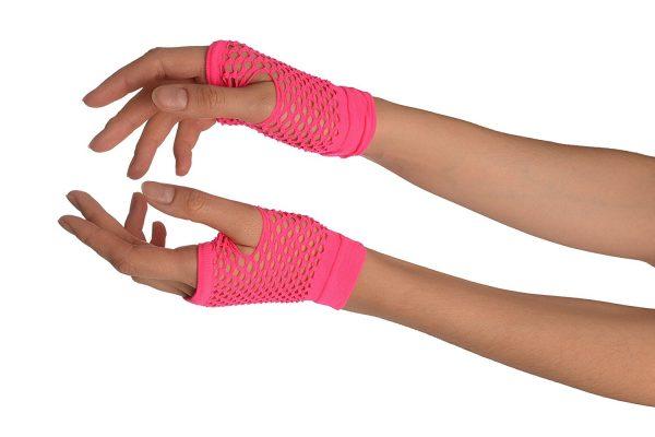 Hot pink fishnet gloves
