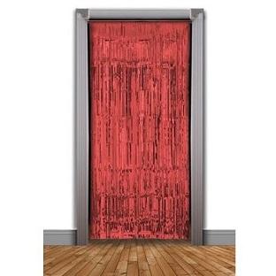 Red foil door curtain