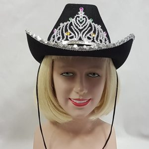 Black cowgirl hat with tiara