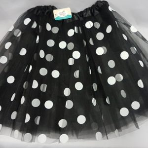 Black polka dot net skirt