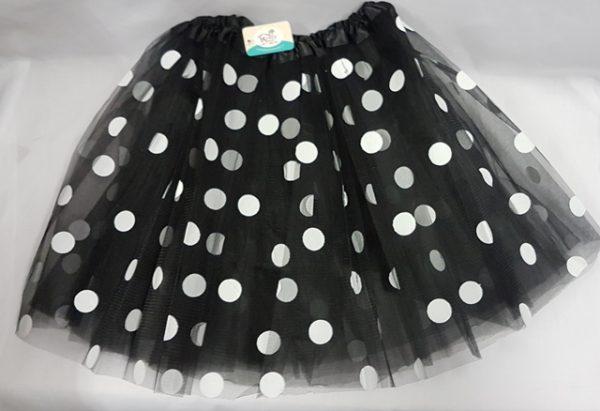 Black polka dot net skirt