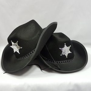 Black sheriff hat with badge