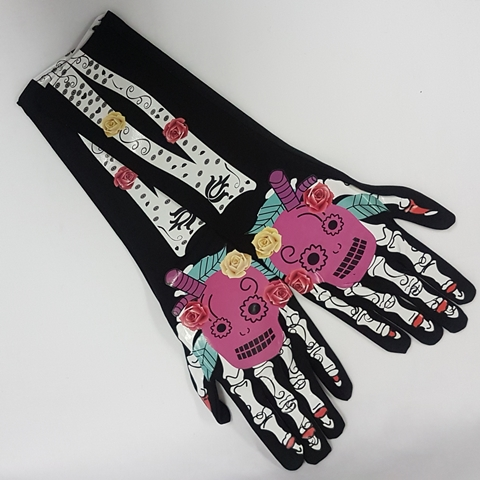 Day of the Dead design long gloves