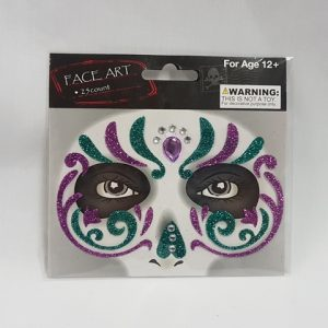 Face art - purple & green