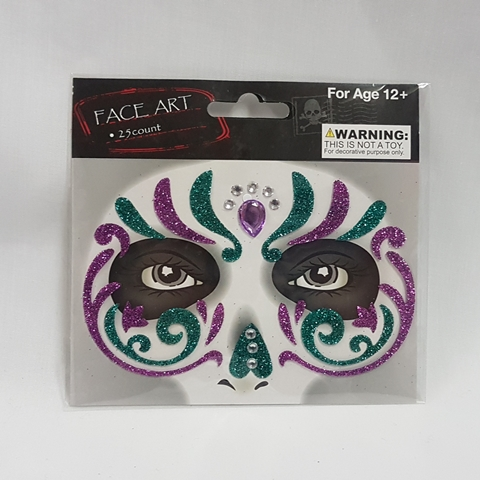 Face art - purple & green