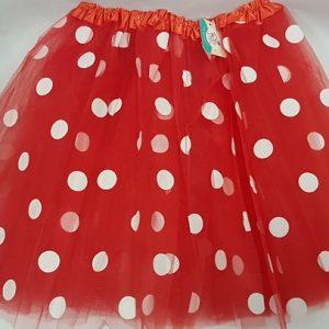 Red polka dot net skirt