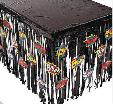 Superhero table skirt