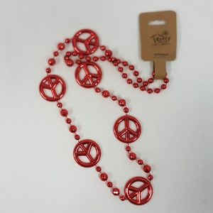 Red peacesign beads