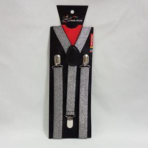 Silver glitter suspenders