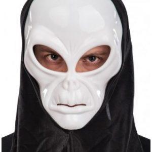 White alien mask
