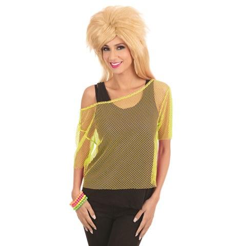 Yellow mesh 80's top