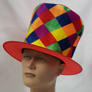 Multi-coloured check top hat