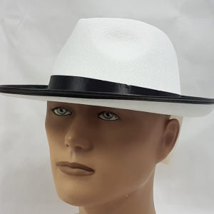 White fedora with black band