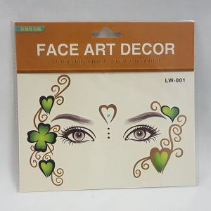 Face art - clover leaf and hearts
