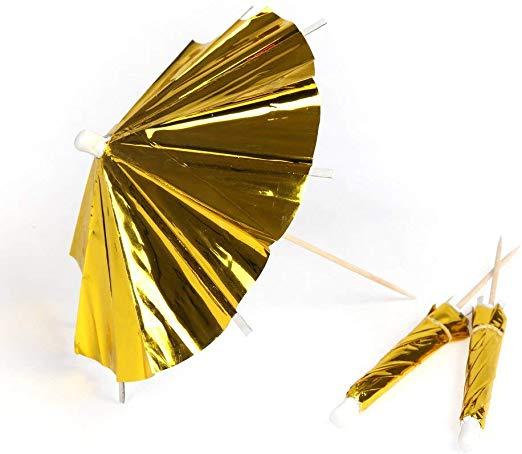 Gold cocktail umbrellas
