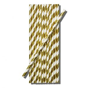 Gold & white stripe straws