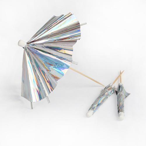 Iridescent cocktail parasols
