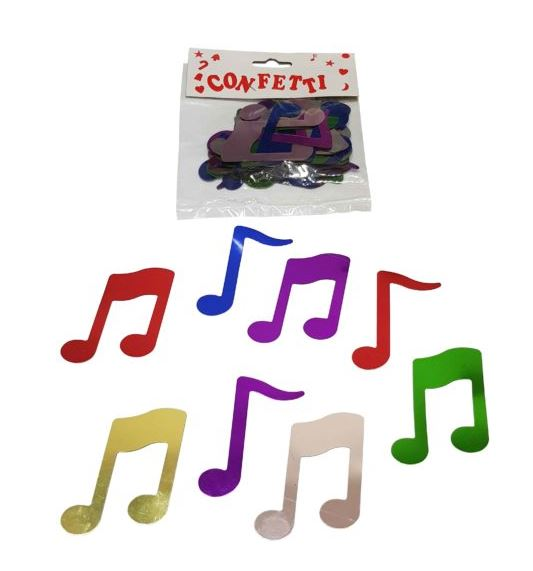 Large music note confetti - multi-coloured