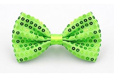 Neon green sequin bow tie