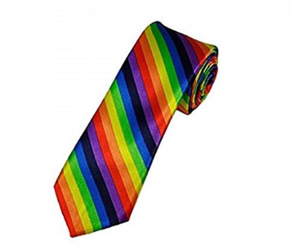 Rainbow stripe necktie