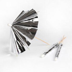 Silver cocktail umbrellas