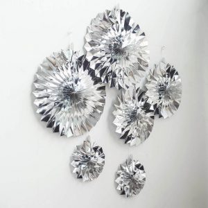 Silver decorating paper fans