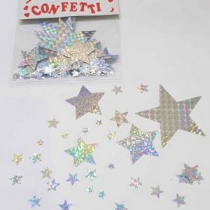 Hologram mixed size star confetti