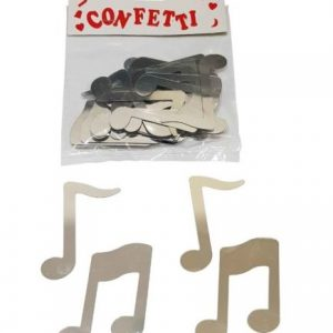 Large music note confetti silver