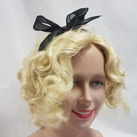 Black lace 80's hairbow