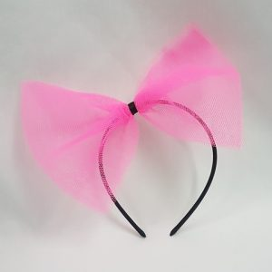 Pink net 80's hairbow