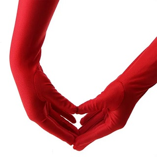Long red ladies gloves