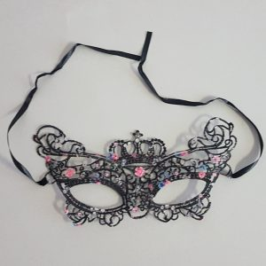 Black lace mask with flowers