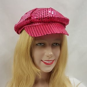 Bright pink sequim hat