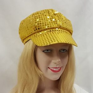 Gold sequin newsboy hat