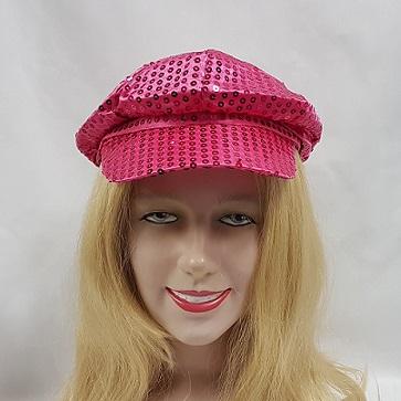 Sequin cap bright pink