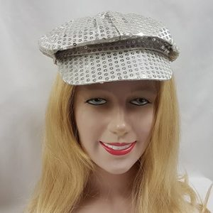 Sequin silver newsboy hat