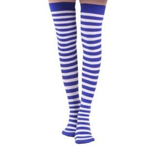 Blue & white stripe thigh high stockings